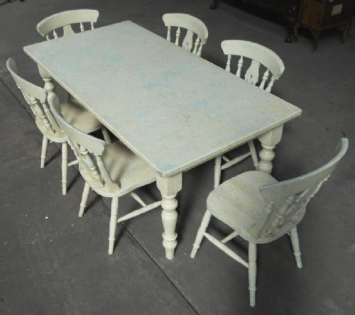 Victorian Style Painted Kitchen Table & Matching Six Chairs